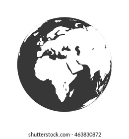 Planet map earth world sphere silhouette icon. Isolated and flat illustration. Vector graphic