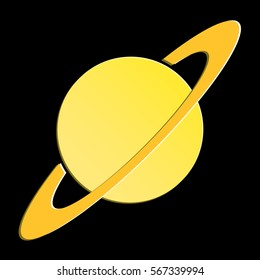Planet on black background, Planet Vector, Art, Image, Icon.