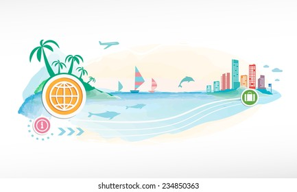 Planet on travel background. Seaside view poster.