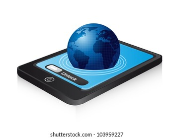 planet out of the phone with shadow. vector illustration