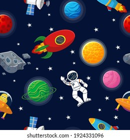 Planet pattern with constellations and stars. Astronaut with rocket and alien in the open space Cute design for kids fabric and wrapping paper. Flat cartoon style funny planet pattern.