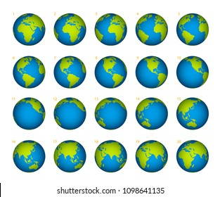 Planet rotation on a white background