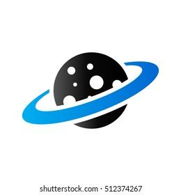 Planet Saturn icon in duo tone color. Plasma belt satellite