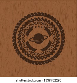 planet, saturn icon inside retro style wooden emblem