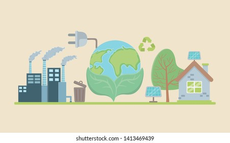 Planet and save energy  icon set design