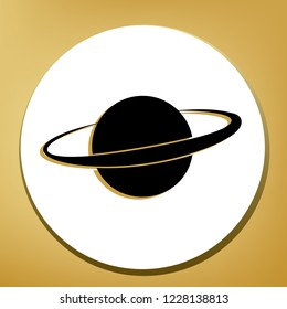 Planet in space sign. Vector. Black icon with light brown shadow in white circle with shaped ring at golden background.