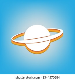 Planet in space sign. Vector. White icon with 3d warm-colored gradient body at sky blue background.