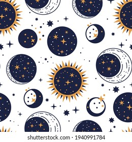 Planet star, sun and moon vector astrology astronomy luxury celestial seamless pattern. Galaxy outer space fantasy vector art.