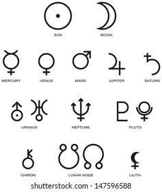 Planet Symbols - Illustration of the main symbols of astrology isolated and on white background.