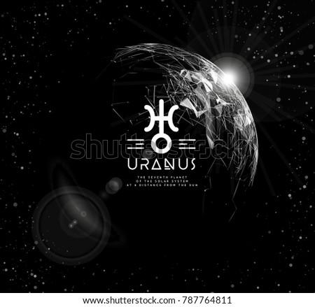 Planet Uranus Form Polygonal Mesh Elements Stock Vector