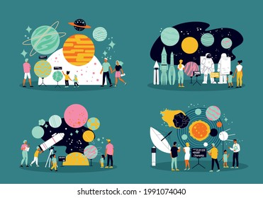 Planetarium 2x2 design concept set of people learning about space and solar system flat vector illustration