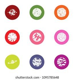 Planetary exploration icons set. Flat set of 9 planetary exploration vector icons for web isolated on white background