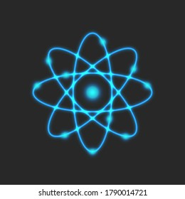Planetary model of the atom, Rutherford is atomic structure model physical symbol of glowing neon blue lines, scientific logo