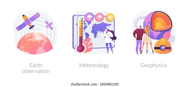 Planetary science abstract concept vector illustration set. Earth observation, meteorology and geophysics, satellite service, met station, weather prediction, space engineering abstract metaphor.