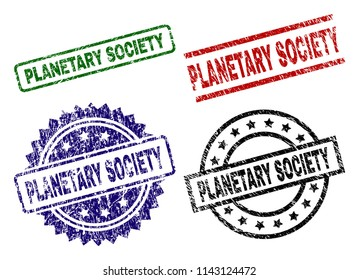 PLANETARY SOCIETY seal stamps with corroded surface. Black, green,red,blue vector rubber prints of PLANETARY SOCIETY text with corroded surface. Rubber seals with circle, rectangle, medallion shapes.