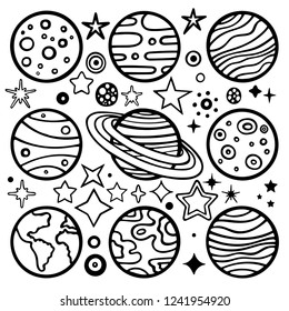 Planets. Hand drawn planets vector illustration set. Planets sketch drawing.