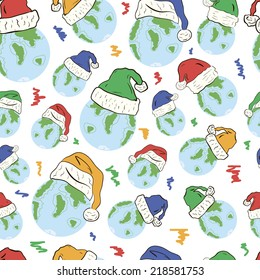 Planets in New Year's festive caps seamless texture