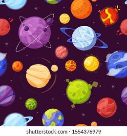 Planets in outer space cartoon flat seamless pattern. Astronomy, universe exploration, planetary, solar system backdrop design. Space bodies on purple background vector illustration