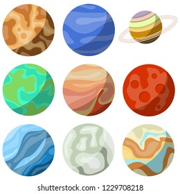 Planets, a set of nine planets of the solar system. Planet icon. Vector.