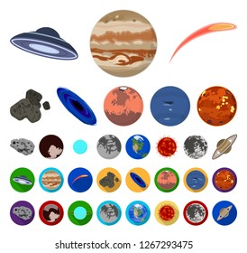 Planets of the solar system cartoon,flat icons in set collection for design. Cosmos and astronomy vector symbol stock web illustration.