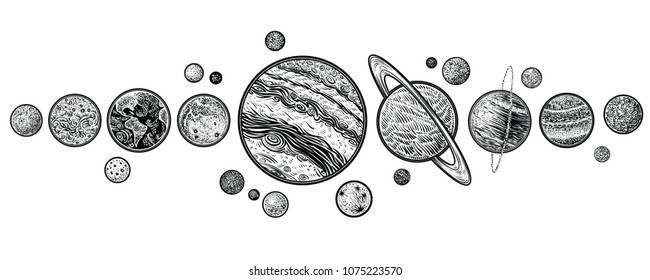 Planets in solar system hand drawn vector illustrations. Linear art with engraving style.