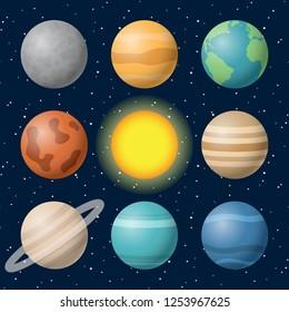 planets of the solar system mercury venus earth mars jupiter saturn uranus neptune sun on space sky star vector.