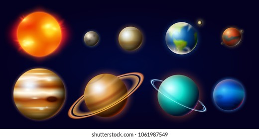 Planets in Solar System. Moon and the Sun, Mercury and Earth, Mars and Venus, Jupiter or Saturn and pluto. Astronomical Galaxy Space. vintage style for label.