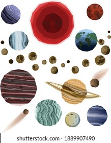 Planets in solar system.The order of the planets in the solar system, starting with the sun is the following: Mercury, Venus, Earth, Mars, Jupiter, Saturn, Uranus, Neptune, Pluto, Asteroids and Comets