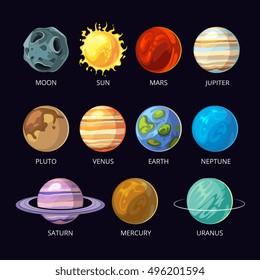 Planets of solar system vector cartoon set on dark sky space background. Mars and pluto, neptune and venus, uranus and saturn illustration