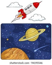 Planets - Space Landscape and Rocket Cartoon Clip art