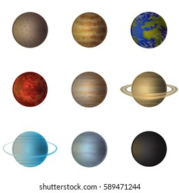 Planets  transparent set with Solar System planets isolated vector illustration