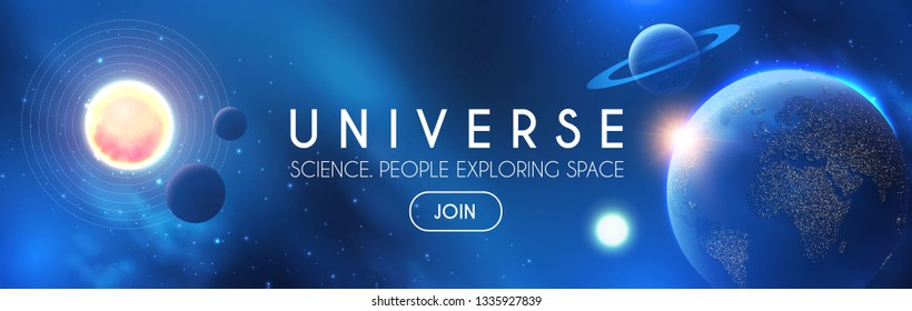 Planets in Universe with Star, Nebula and Galaxy Lights. 3D REalistic Space. Cosmos Design. Vector illustration