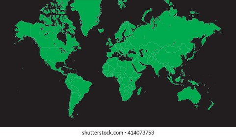 Planisphere - Vector world map green on black - alpha - background