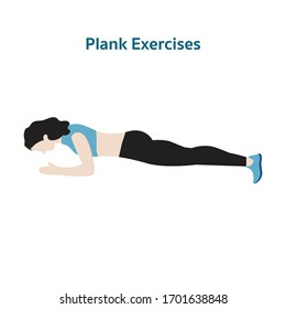 Plank warm up exercises with women character isolated on white background, Indoor workout and gym exercises concept, Flat vector illustration design,