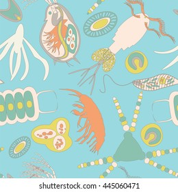 Plankton seamless pattern. Vector illustration with small organism both phytoplankton and zooplankton for fabric, textile, backdrop, wallpaper, wrapping paper on environmental biological nature theme.