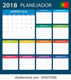 Planner 2018 - Portuguese Version - vector illustration