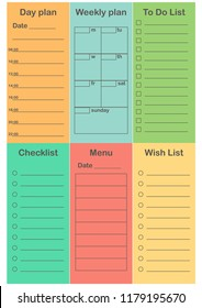 planner 2019 set simple style schedule stock vector royalty free