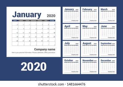 Planner 2020 year.  Calendar design template. English calender. Сolor vector. Week starts on Sunday. Simple business plan. New year. Clean minimal table planning