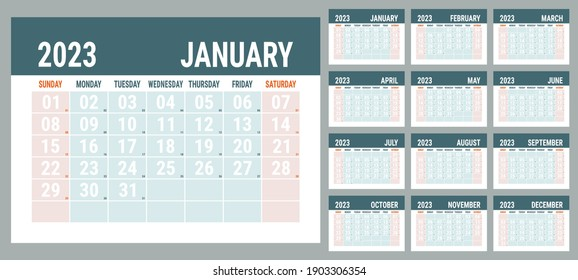 Planner 2023 year. English calendar template. Vector horizontal grid. Landscape orientation. Office business planning. Creative design. Red and grey color
