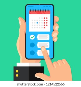 Planner app on smartphone screen. Reminder, appointment concepts. Hand holds smartphone with calendar and checklist. Task management, schedule planner. Modern flat design. Vector illustration