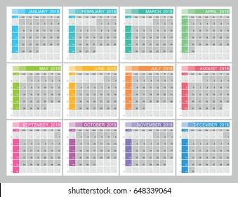 Planner  calendar for 2018 year. Week start sunday, classic grid with numbers. Editable vector template for web and print design.