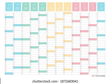 Planner calendar for 2021. Wall organizer, yearly planner template. Vector illustration. Vertical months. One page. Set of 12 months. Rainbow colors.