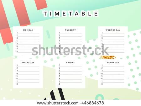 planner calendar schedule week abstract design stock vector royalty