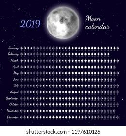Planner of lunar cycles at 2019 year. Daily lunar phases calendar. Dates for full, new moon and every phase in between. Cycles of the moon vector illustration. Moon illumination and moon age.