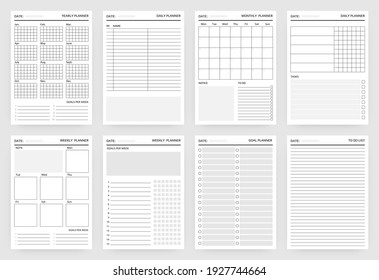 Planner pages. Paper sheets for scheduling, writing tasks for year and month, week or day. White blank diary stencils with plans and goals. To do list template. Vector printable organizer mockup set