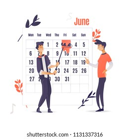 Planner and time management application concept isolated on white background - two men marks date with red paint on big calendar. Cartoon vector illustration of computer software for time planning.