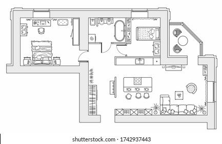 Planning of the apartment with arrangement furniture. Architectural drawing of the house (top view). Interior design  floor plan from above. Vector layout