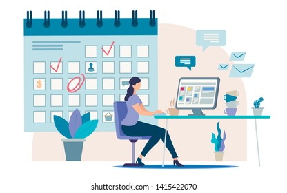 Planning Business Activity, Time Management Flat Vector Concept Businesswoman, Female Office Worker, Company Employee Sitting at Work Desk, Making Tasks and Meetings Reminders in Calendar Illustration