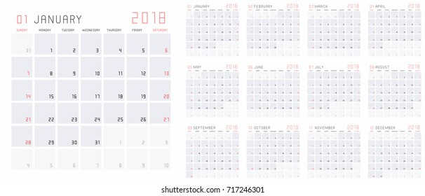Planning calendar template 2018 set of 12 months January - December