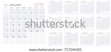 planning calendar template 2018 set 12 stock vector royalty free